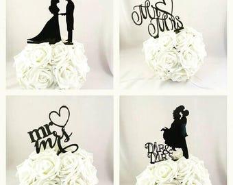 Wedding Cake Topper, Bride and Groom Cake Topper, Mr and Mrs Cake Topper, Cake Topper