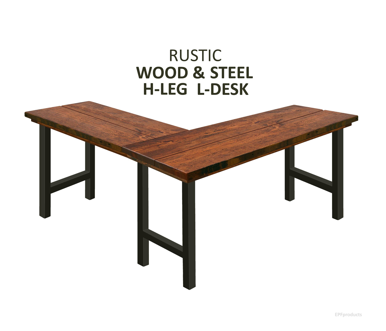 h leg l shape desk rustic wood steel desk industrial desk. Black Bedroom Furniture Sets. Home Design Ideas