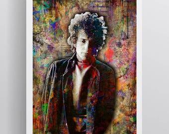 Bob Dylan Poster, Bob Dylan Print, Bob Dylan Gift, Bob Dylan Artwork, Bob Dylan Colorful Layered Tribute for Fans