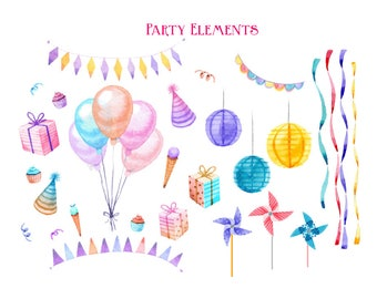 Watercolour Party Clip Art Graphic Design PNG High Resolution A48