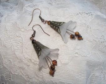 Copper flower earrings tiger eye stone