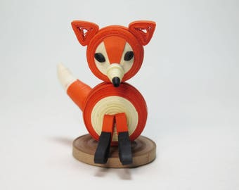 OOAK Quilled 3D Baby Fox Paper Sculpture. Woodland Forest Theme Cake Topper Ornament Animal. Birthday Anniversary Wedding Gift. FREE S/H!