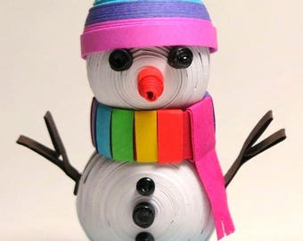 OOAK 3D Quilled Rainbow Gay Pride Snowman Paper Sculpture. Winter Theme Cake Topper Ornament. Birthday Anniversary Wedding Gift. FREE S/H!