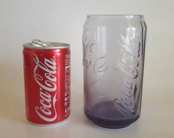 Coca Cola Glass Purple Can Shape Advertising Olympic Games Rio 2016 & Empty Can Coca Cola Collectables
