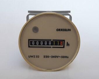 Vintage Grasslin UWZ 52 220-240V 50Hz Hour Meter Nos Made In West Germany