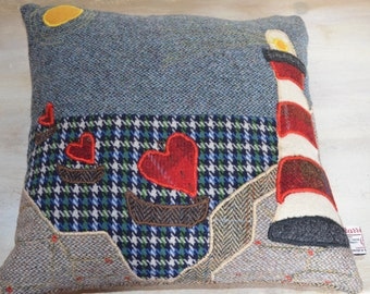 Complete Harris Tweed Lighthouse Cushion