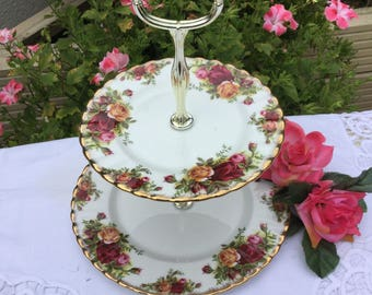 Cakestand - Royal Albert  'Old Country Roses' - vintage 2 tier cakestand in fine bone china