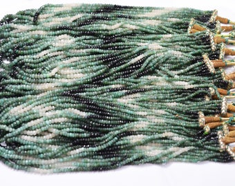 Low Quality Emerald Shaded Faceted Rondelles / 3.0 - 5.0 mm/ 18 Inches