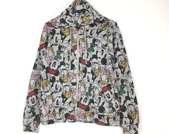 Free Shipping Vintage 80s MICKEY MOUSE disney cartoon hoodie zipper