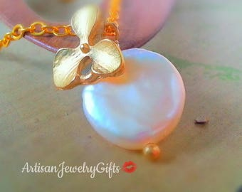 Gold Orchid Iridescent White Coin Pearl Necklace Matte Gold Orchid Necklace Bridal Necklace Bridesmaid Necklace Mother's Day Gift For Mom