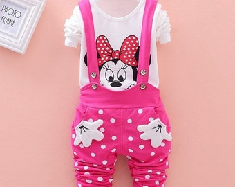 Baby Girls Minnie T-shirt and Suspenders Pants