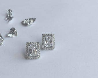 Sterling Silver Emerald Cut Cubic Zirconia Halo Cluster Studs