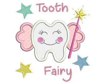 Tooth Fairy Applique Machine Embroidery Design, Girl's Baby Tooth Fairy Machine Embroidery, 4x4, 5x7, 6x10, Instant Download, No: SA537-3
