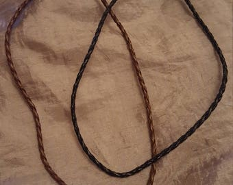 """Black or Brown 19"""" Braided Faux Leather Cord Necklace"""
