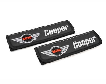 Mini Cooper - 2 pcs. Car Seat Belt Shoulder. Car Seat Strap Covers, Padded Strap Covers, Reversible Strap Covers.