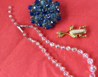 Sparkly Jewellery set - Crystal beads, Custer Brooch and a Jewelled Frog. All Old