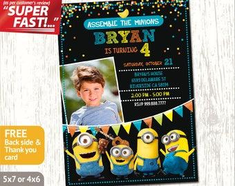 Minion Photo Invitation PRINTABLE, Minion Birthday Invitation, Minion Party Invitation, Boy Minions Invite, FREE Minion Thank You Card, v5