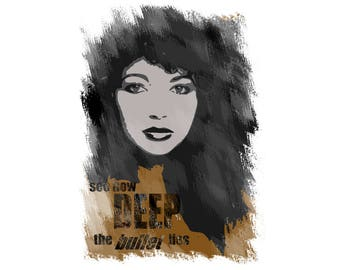 T-SHIRT: Kate Bush / See How Deep The Bullet Lies - Classic T-Shirt & Ladies Fitted Tee - (LazyCarrot)