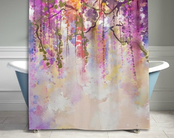 Watercolor Flower Home Decor Shower Curtain, Abstract Herbs Weeds Blossoms Ivy Back with Florets Shrubs Design, Fabric Bathroom Decor
