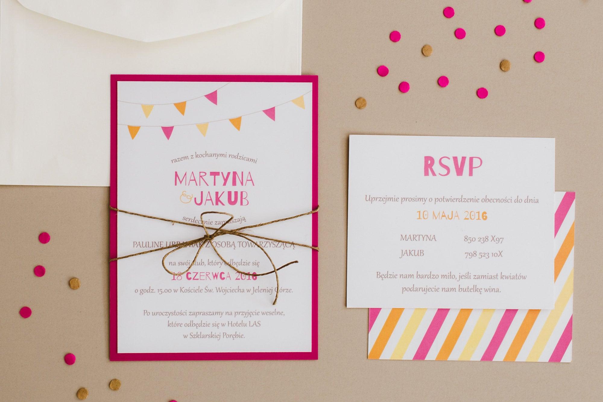 Funny wedding invitation / Pink and orange invitation set / Garland ...