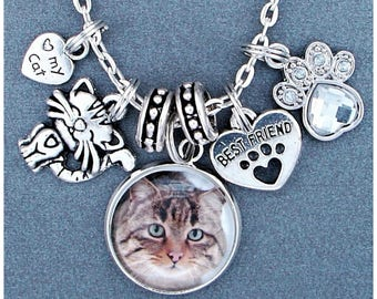 Love My Cat Custom Photo Charm Necklace, Kitty, Kitten, Best Friend, Rhinestone Paw Print, Personalized Picture Charm, Gift For Pet Lover