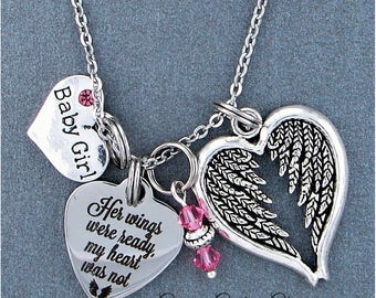 Baby Girl ~ Her Wings Were Ready, My Heart Was Not Memorial Necklace, Swarovski Birthstone, Sympathy Jewelry Memorial Gift, Loss Of Infant