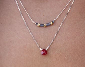 Ruby Necklace - Sterling Silver Chain - Double Necklace - Genuine Pink Ruby and Sapphire - Dainty Necklace- Delicate Necklace-Chain Necklace