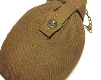 Vintage soldier flask Military water bottle Military flask USSR Army Military green bottle Army flask Belt Case Aluminum flask military jar