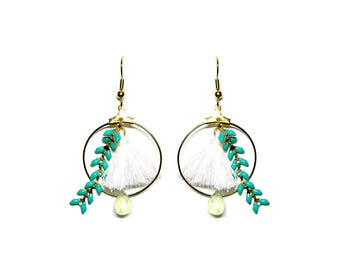 Grigri Golden Hoop Earrings emerald green and white