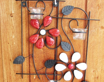 Red Flower Candle Holder