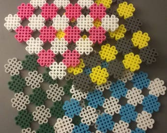 Two Color Flower Perler Bead Cup Coasters