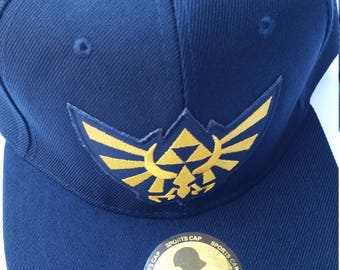 Legend of Zelda Snapback Hat with a yellow Hyrule Triforce Patch (FREE SHIPPING!!)