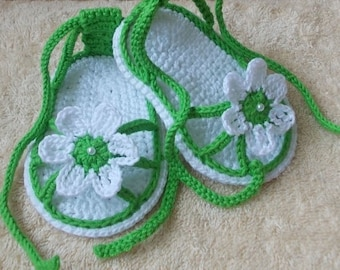 Crochet baby sandals, gladiator sandals, flip flops, baby shower, gift for new parents, baby slippers, summer shoes, gift for baby girl