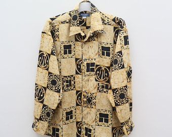 Vintage KEY LARGO Medusa Baroque Brown Buttondown Shirt Size L
