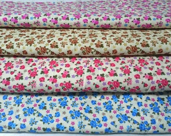 Floral Fabric Flower Fabric,Shabby Chic Style Cotton, Little Rose Pink Brown Red Blue Floral Cotton Fabric