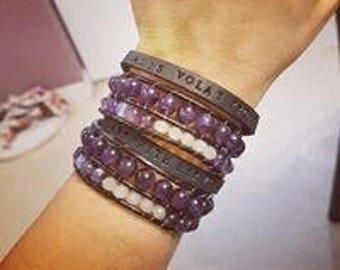 Amethyst Leather Wrap Bracelet