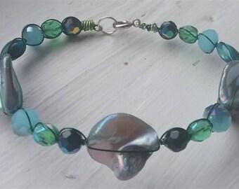 Blue Green Abalone Shell Bracelet 2