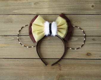Chattering Chipmunk Chip Inspired Beaded Ears - Mickey Ears - Beaded Mickey Ears - Minnie Ears - Beaded Minnie Ears - Chip Mickey Ears