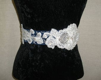 Bridal Sash-01-Soft scallops on Navy satin (03/2017)