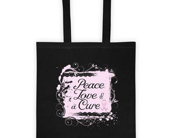 Peace Love & a Cure Tote bag