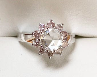 Natural Pink Diamonds and Rose Cut Diamond Ring