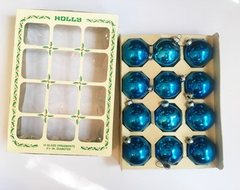 Vintage Christmas Ornaments, HOLLY Brand Dark Blue Glass Bulbs, Made in USA