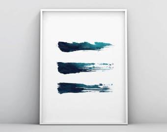 Abstract Brush Print, Abstract Brush Art, Modern Blue Art, Modern Teal Art, Brush Strokes Wall Art, Poster, Minimalist Decor, Turquoise Art