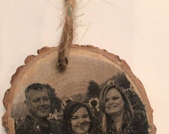 Christmas Ornament Wood Slices with personal photo