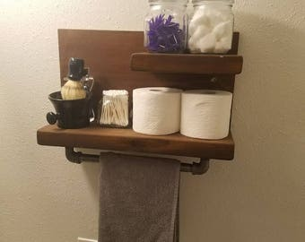 Shelf With Towel Bar Etsy