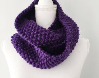 Royal Purple Wool Blend Seed Stitch Knit Infinity Circle Scarf