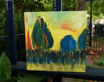 Trees/Greetings card/Unique/Fine art/Square card/Made in the UK/Blank card/View of Victoria Park