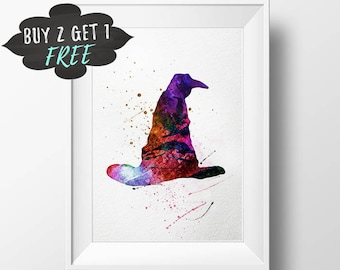 Harry Potter Nursery Decor, Sorting Hat Art Print Poster, Harry Potter Wall Art Printable, Instant Download, Harry Potter Birthday Gift