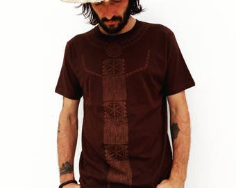 Organic cotton handprinted seed of life pattern tshirt for man