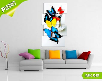 Colorful butterflies, Modular painting for Home & Office Decoration, Canvas print wall art, Poster home décor, Multi panel canvas print